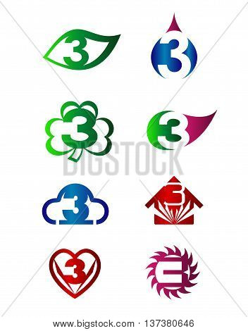 Number three 3 logo vector set design