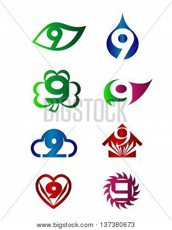 Number nine 9 logo icon template elements set