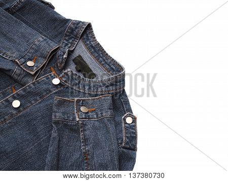 Close up blue denim jacket isolated on white background