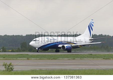 MOSCOW, RUSSIA - SEPTEMBER 26, 2014: Nordstar airlines Boeing-737 take off to the runway at Domodedovo International airport.