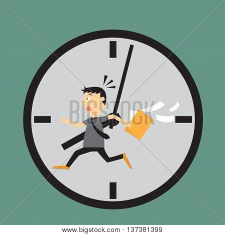 Worried employee running against the time. business life in vector concept.