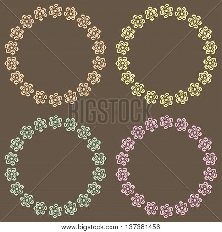 Floral Frame Collection. Set of cute retro flowers shapes for wedding invitations and birthday cards