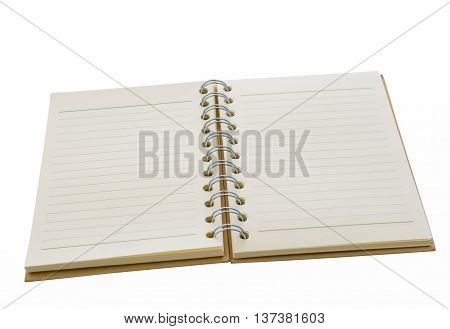 Medium-sized notebook is placed on a white background