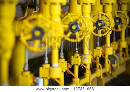 Valves manual in the production process. Production process used manual valve to control the system, Operator open and close or function the valve for controlled pressure or gas and oil flow rate.