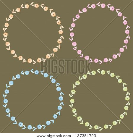 set of four tiny flower frames on grey backgrounnd