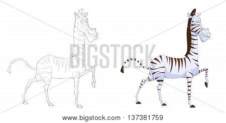 Zebra. Coloring Book, Outline Sketch, Animal Mascot, Game Character Design isolated on White Background