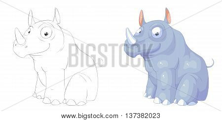 Rhino. Coloring Book, Outline Sketch, Animal Mascot, Game Character Design isolated on White Background