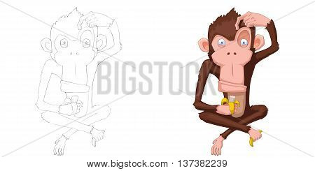 Happy Monkey. Coloring Book, Outline Sketch, Animal Mascot, Game Character Design isolated on White Background