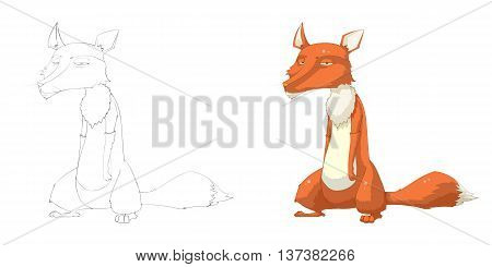 Red Fox. Coloring Book, Outline Sketch, Animal Mascot, Game Character Design isolated on White Background