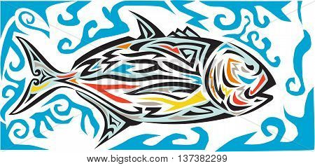 Tribal art style illustration of a giant trevally Caranx ignobilis also known as giant kingfish lowly trevally barrier trevally or ulua a species of large marine fish in the jack family Carangidae viewed from the side set on isolated white background done