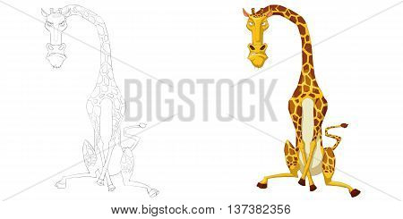 Angry Giraffe. Coloring Book, Outline Sketch, Animal Mascot, Game Character Design isolated on White Background