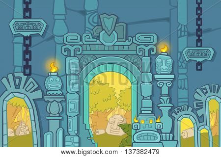 Creative Illustration and Innovative Art: Temple, Tomb of Egypt. The Blue Version. Realistic Fantastic Cartoon Style Artwork Scene, Wallpaper, Story Background, Card Design