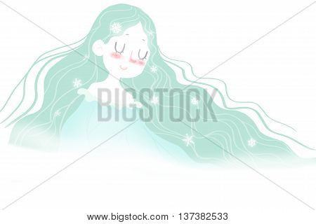 Creative Illustration and Innovative Art: Winter Fairy, Season Goddess - Letter Paper Background. Realistic Fantastic Cartoon Style Artwork Scene, Wallpaper, Story Background, Card Design