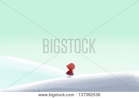 Creative Illustration and Innovative Art: A Little Girl Walking Lonely in the Winter Snow Wild. Realistic Fantastic Cartoon Style Artwork Scene, Wallpaper, Story Background, Card Design