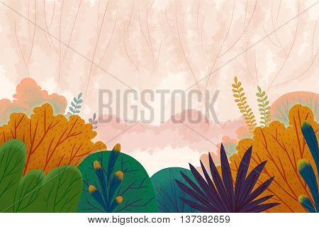 Creative Illustration and Innovative Art: Fairy Tale Forest. Realistic Fantastic Cartoon Style Artwork Scene, Wallpaper, Story Background, Card Design