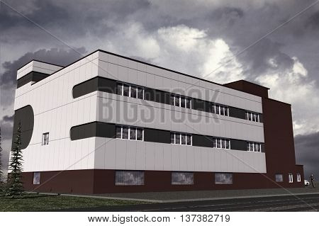 3D-illustration model of the building in the style of Constructivism