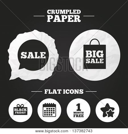 Crumpled paper speech bubble. Sale speech bubble icon. Black friday gift box symbol. Big sale shopping bag. First month free sign. Paper button. Vector