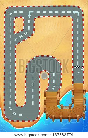 Creative Illustration and Innovative Art: Racing Track around the Beach, Portrait Mode, Top View. Realistic Fantastic Cartoon Style Artwork Scene, Wallpaper, Story Background, Card Design
