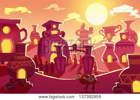 Creative Illustration and Innovative Art: Background Set 7: Desert Silk Road To China. Realistic Fantastic Cartoon Style Artwork Scene, Wallpaper, Story Background, Card Design