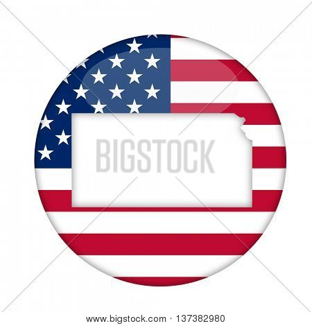 Kansas state of America badge isolated on a white background.