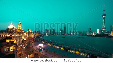 Bird View At Shanghai Bund European-style Buildings Of Night