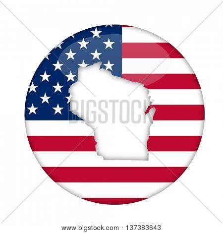 Wisconsin state of America badge isolated on a white background.
