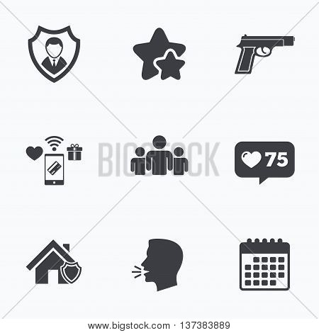 Security agency icons. Home shield protection symbols. Gun weapon sign. Group of people or Share. Flat talking head, calendar icons. Stars, like counter icons. Vector