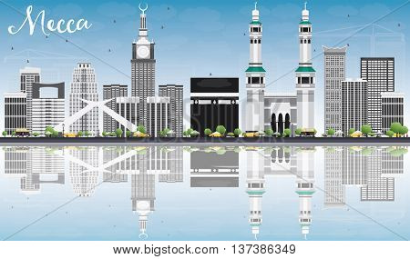 Mecca Skyline with Landmarks, Blue Sky and Reflections. Vector Illustration. Travel and Tourism Concept with Historic Buildings. Image for Presentation Banner Placard and Web Site.