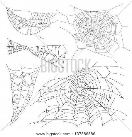 Set of different spiderwebs on a white background. Vector illustration. Elements for design.