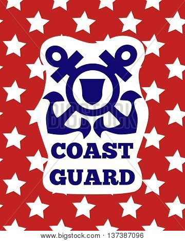 Coast guard day greeting card. Coast guard logo with anchors on red background.