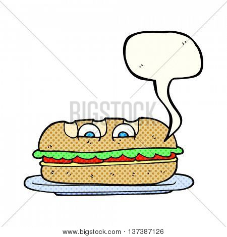 freehand drawn comic book speech bubble cartoon sub sandwich