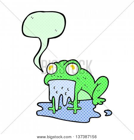 freehand drawn comic book speech bubble cartoon gross little frog