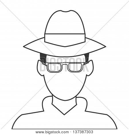 simple flat design detective or spy icon vector illustration