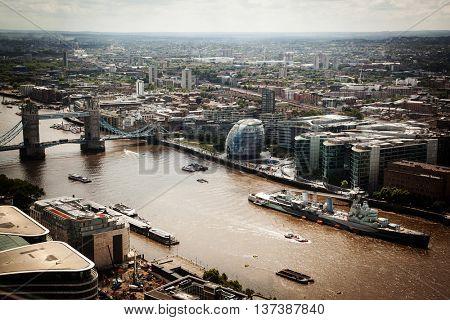 England - Skyline of South London with London Bridge, Shard skyscraper and River Thames - United Kingdom