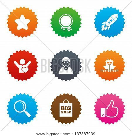 Online shopping, e-commerce and business icons. Start up, award and customers like signs. Big sale, shipment and favorite symbols. Stars label button with flat icons. Vector