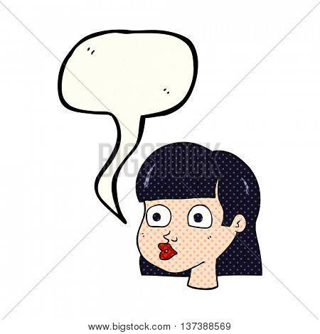 freehand drawn comic book speech bubble cartoon female face