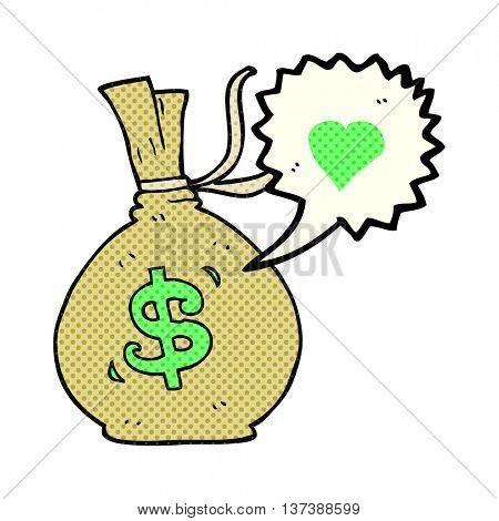 freehand drawn comic book speech bubble cartoon bag of money