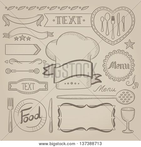 Set of vintage labels, ribbons, frames, banners, logo and advertisements for coffee menu board for restaurant and coffee shop. Hand drawn vector sketch illustration. Old paper vintage background.