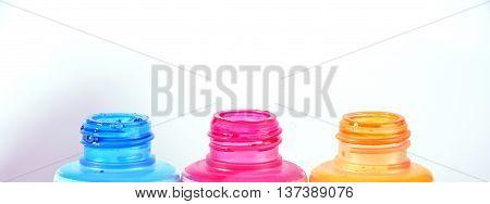 empty bottles of ink printer cartridges macro color concept