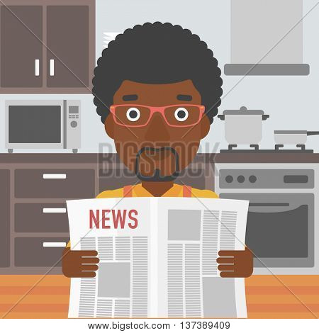 An african-american man reading the newspaper on the background of kitchen vector flat design illustration. Square layout.