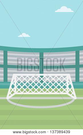 Background of soccer stadium. Soccer stadium with gate. Soccer field. Soccer arena. Soccer stadium vector flat design illustration. Vertical layout.