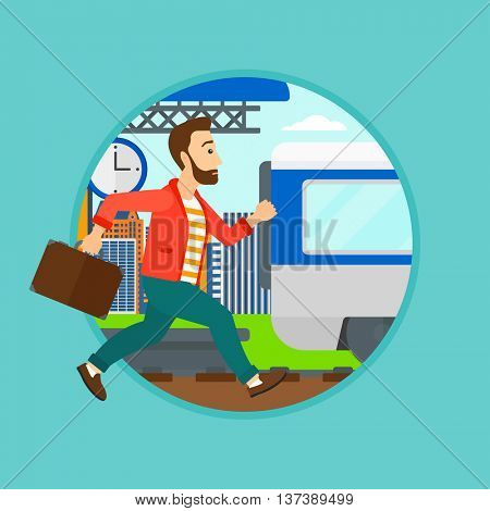 Latecomer man running along the platform to reach the train. Man came too late at train station. Man with briefcase chasing train. Vector flat design illustration in the circle isolated on background.