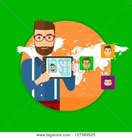 Man holding tablet computer with social network user profile on a screen. Man standing on background of avatars of social network. Vector flat design illustration in the circle isolated on background.