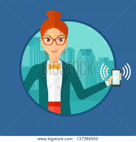 Woman holding ringing mobile phone on a city background. Young woman answering a phone call. Woman with ringing phone in hand. Vector flat design illustration in the circle isolated on background.