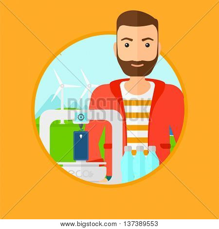 Man standing near 3D printer on the background of wind turbines. 3D printer making a smartphone using recycled plastic bottles. Vector flat design illustration in the circle isolated on background.
