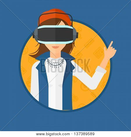 Woman wearing a virtual relaity headset. Woman in a virtual relaity headset pointing a forefinger up while playing video game. Vector flat design illustration in the circle isolated on background.