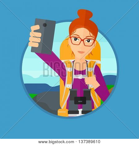 Young woman making selfie on the background of hilly countryside. Travelling woman with backpack taking photo with cellphone. Vector flat design illustration in the circle isolated on background.