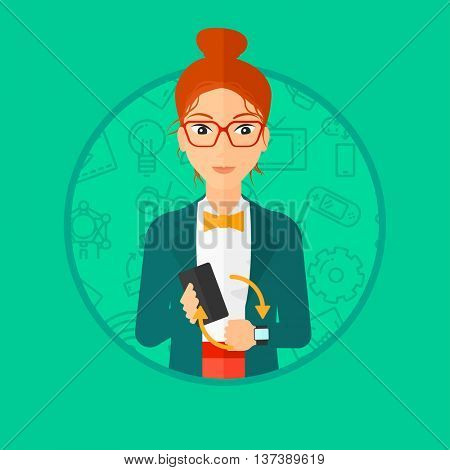 Young woman holding a smartphone and wearing on wrist her smart watch. Synchronization between smart watch and smart phone. Vector flat design illustration in the circle isolated on background.