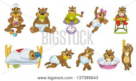 Set of baby beavers playing with toys, sucking a pacifier, sitting on a scale, sleeping, crawling, washing, measuring growth, sitting in baby chair. Vector illustration isolated on white background.