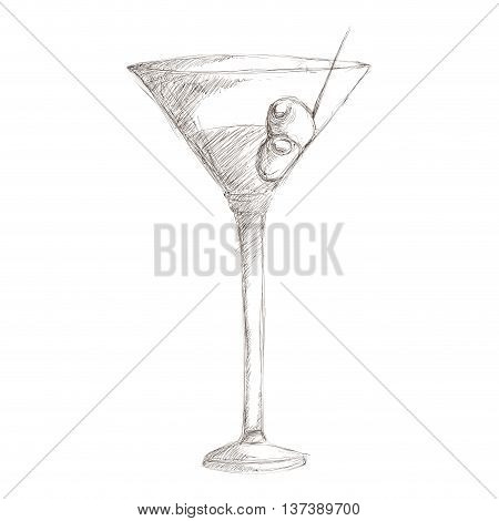 simple flat design martini with olives sketch icon vector illustration